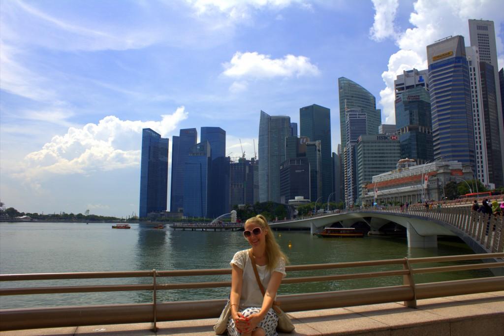 Singapur Skyline mit mir