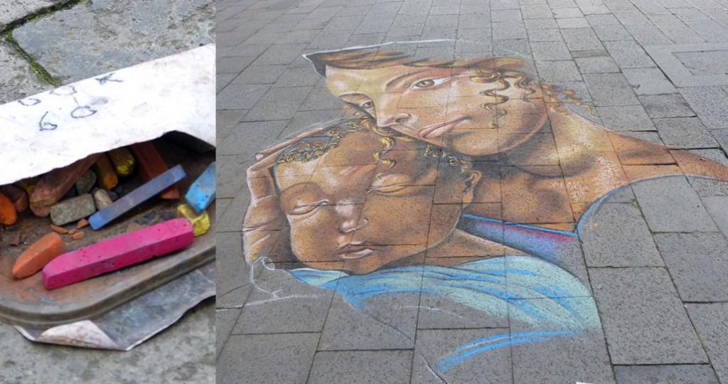 Kreidenbild von Mutter mit ihrem Sohn auf der Strasse von Venedig