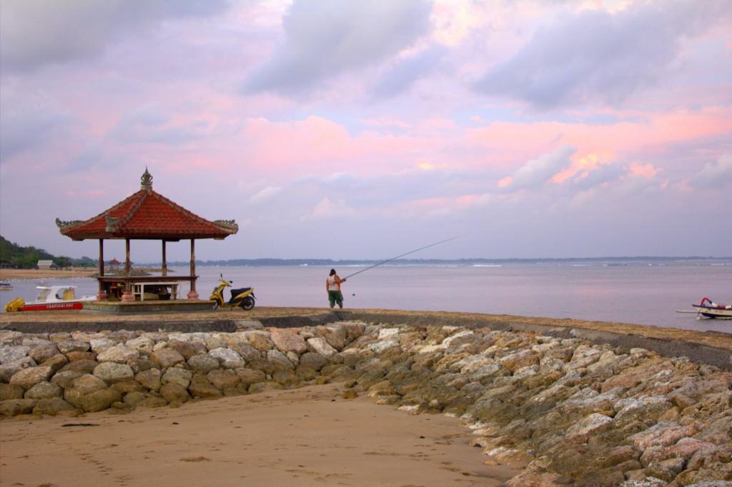 Nusa Dua Strand mit Fischer