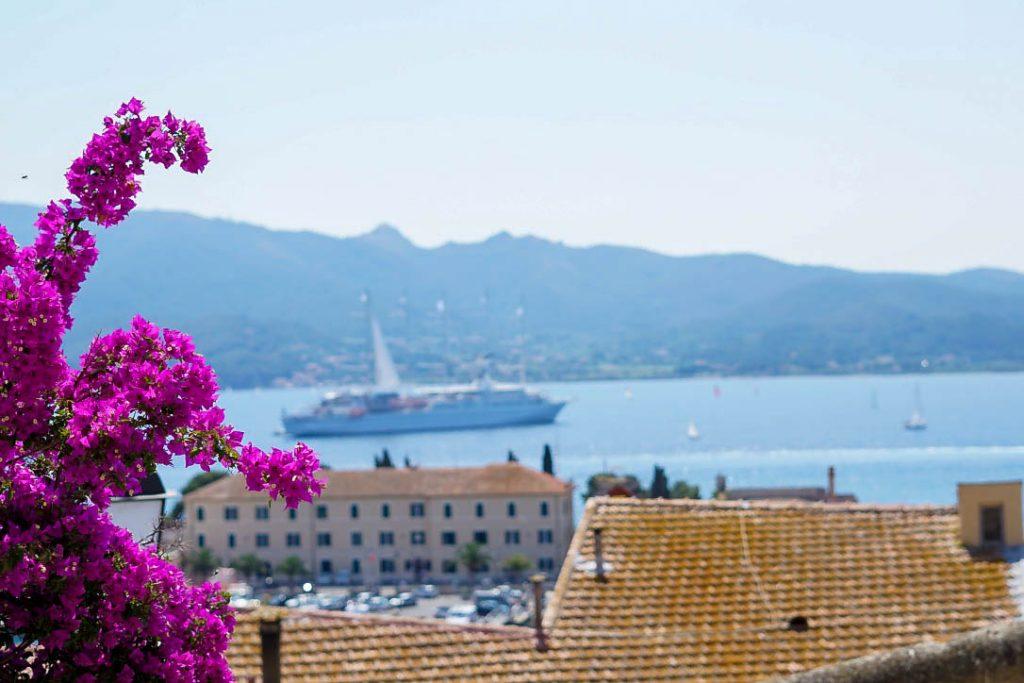 Elba-Italien-Portoferraio-pinke-blumen-ausblick-meer