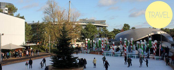 Schlittschuhbahn-Wolfsburg-blauer Himmel-Menschen haben Spaß