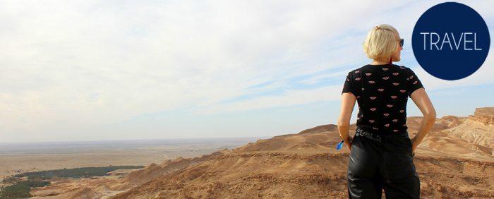 blauer Himmel-Tunesien-Ausblick auf die Wüste